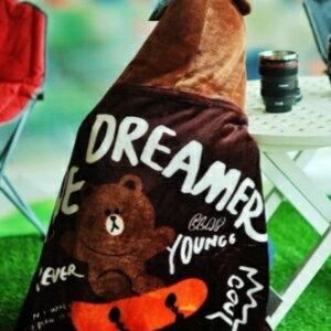 美麗大街【S105120807】line熊大聯名連帽造型毯保暖毯汽車毯冷氣毯