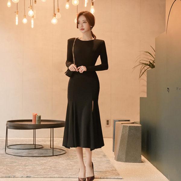 PS Mall 韓版長款修身開叉針織連身裙 洋裝【T2368】 - 限時優惠好康折扣