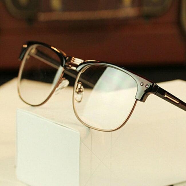 <br/><br/>  50%OFF SHOP韓版潮人金屬半框眼鏡框2190個性復古眼鏡架雙米釘框架眼鏡【J020068GLS】<br/><br/>