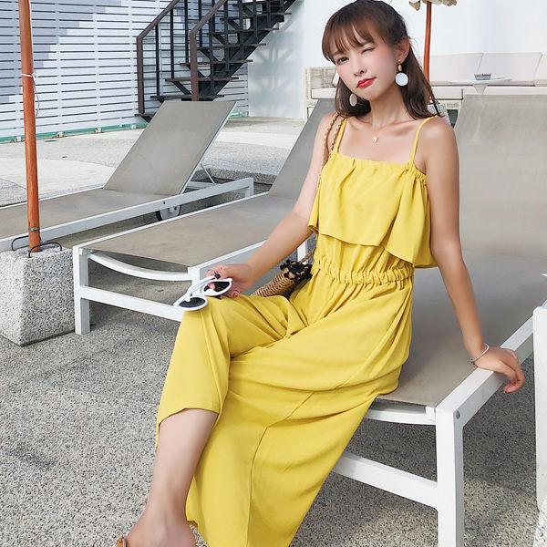 PS Mall 九分褲子寬鬆顯瘦吊帶連身寬口褲 連身褲【T356】 1