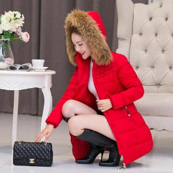 韓風衣舍:韓版時尚大毛領收腰中長款中大尺碼羽絨棉服M~5XL現貨+預購韓風衣舍