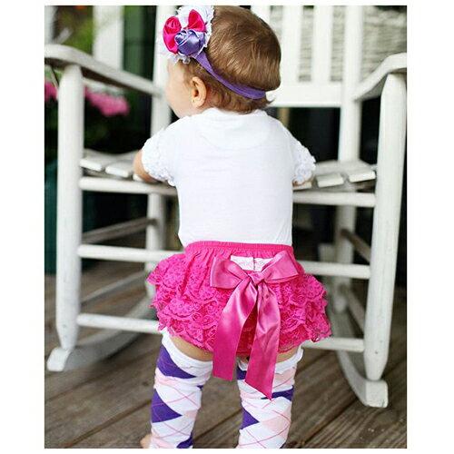 【hella 媽咪寶貝】美國 RuffleButts 小女童荷葉屁屁褲/包屁褲 桃紅蕾絲 (RBRBW019)