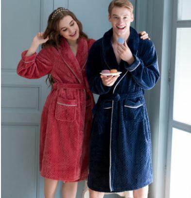 美琪 (親膚柔軟)法蘭絨섹시한性感浴袍簡約家居服加大碼秋冬커플情侶加厚珊瑚絨睡袍