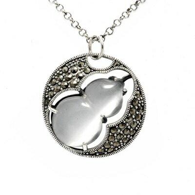 925純銀項鍊 貓眼石吊墜~圓形葫蘆復古情人節生日 女飾品4色73dh44~ ~~米蘭 �