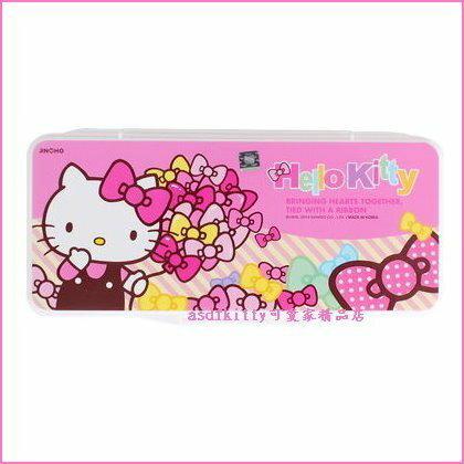 asdfkitty可愛家☆KITTY桃結版水彩調色盤/有蓋子附海綿-韓國正版商品