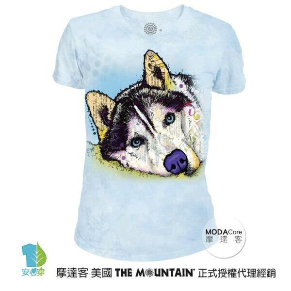 【摩達客】(預購)美國TheMountain都會系列彩繪哈士奇雪橇犬圓領修身女版短T