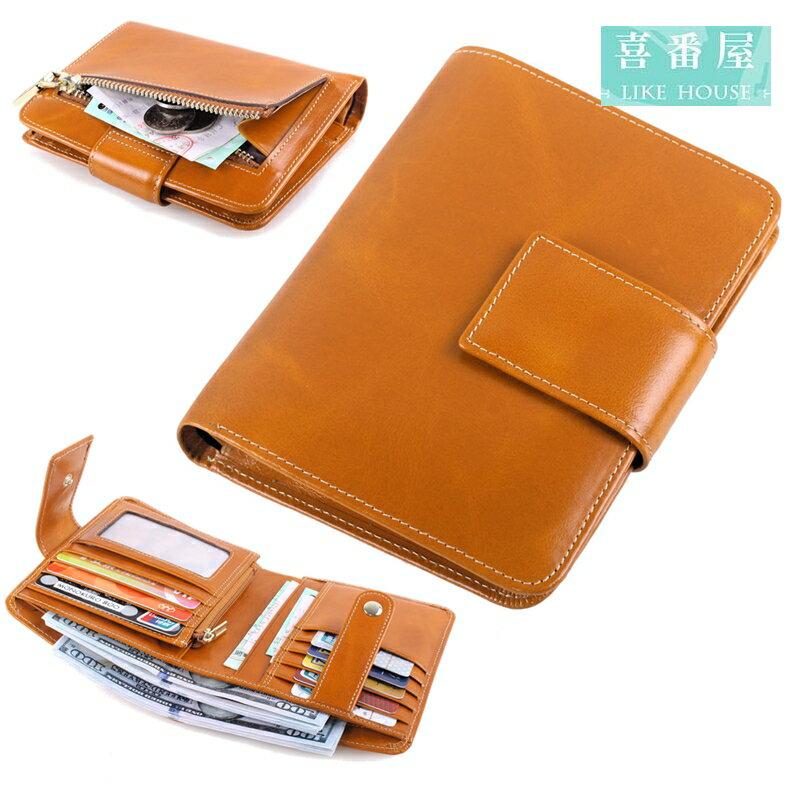 【喜番屋】日韓版真皮油蠟牛皮復古女士皮夾皮包錢夾零錢包短夾中夾流行女包女夾LH340
