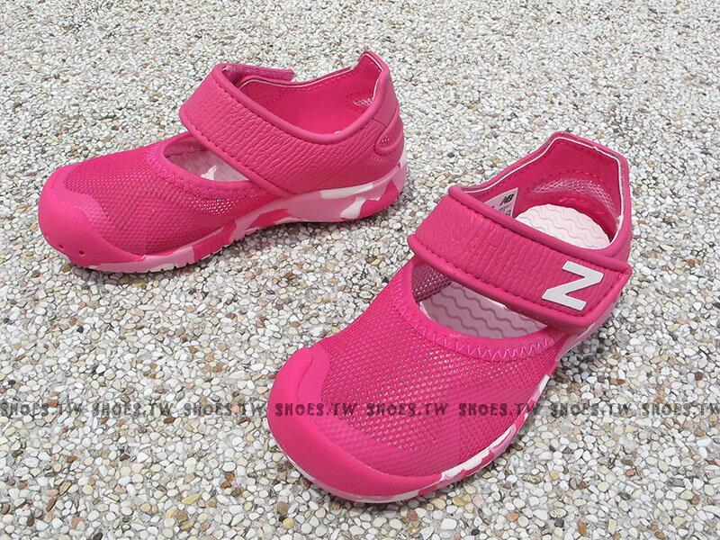 Shoestw【KA208PNI】NEW BALANCE 涼鞋 拖鞋 童鞋 小童鞋 桃紅白 護趾 透氣 黏帶