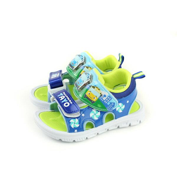 SUPERWINGS涼鞋電燈鞋魔鬼氈藍綠中童T83815-550no943