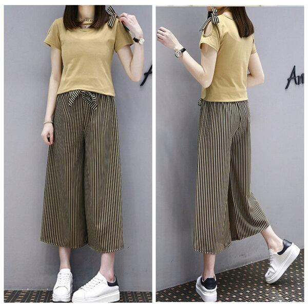 簡約小V領素色短袖上衣蝴蝶結條紋顯瘦闊腿褲套裝