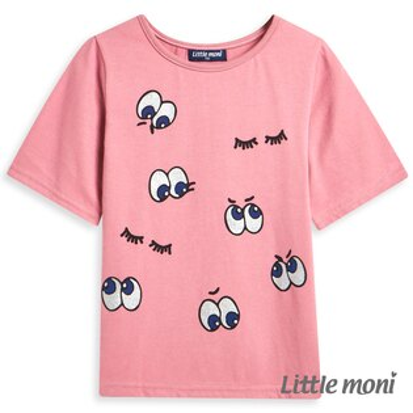 Littlemoni眼睛眨眨印圖上衣-粉紅