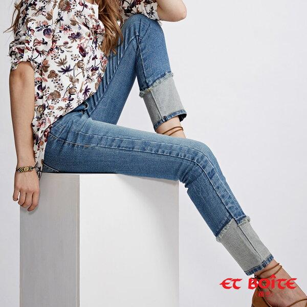 【春夏新品】【全方位美型計畫-23yrs完美裝扮】褲口異色剪裁直筒褲-BLUEWAYETBOiTE箱子