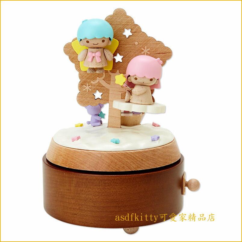 asdfkitty可愛家☆雙子星聖誕樹木製旋轉音樂盒-可當擺飾-日本正版商品