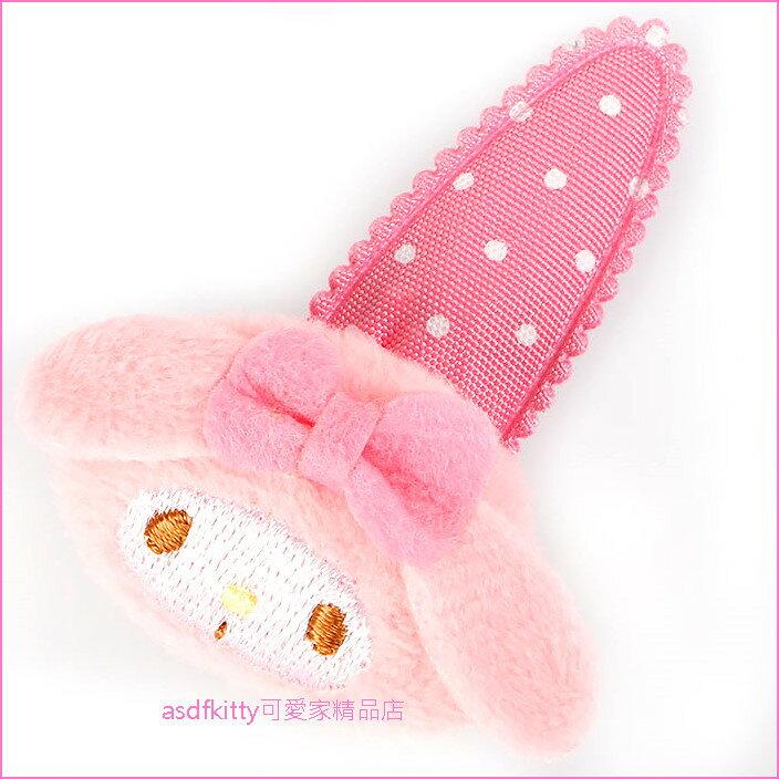 asdfkitty可愛家☆美樂蒂大臉造型絨毛髮夾/彈簧夾/瀏海夾/側邊夾-大人小孩都可用-日本正版商品