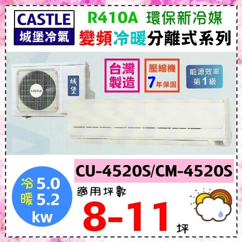 【城堡冷氣】8-11坪R410A變頻冷暖分離式冷氣機《CS-4520S》能源效率第1級