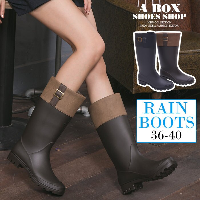 【AND3661】愛上下雨天 防水PVC 英倫風消光霧面雙色拼接金釦修身 31CM長筒雨靴 雨鞋 2色 0