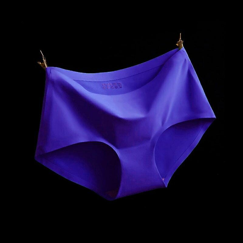 317172#A12深藍 M冰絲無痕中腰純色性感女仕內褲 中大尺碼 # 一片式