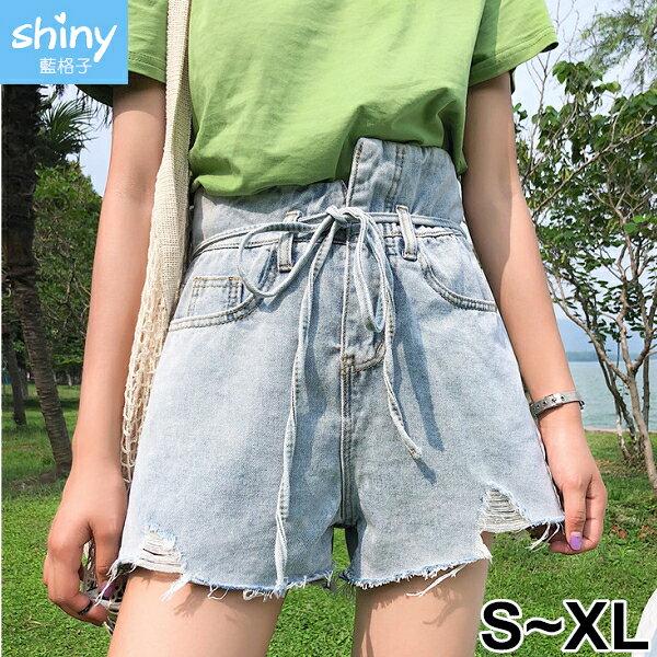 【V9064】shiny藍格子-復古個性.百搭牛仔闊腿短褲