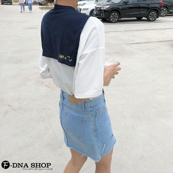 F-DNA★刺繡微笑可拆兩件式披肩圓領短袖上衣T恤(2色-M-2XL)【ET12690】 1
