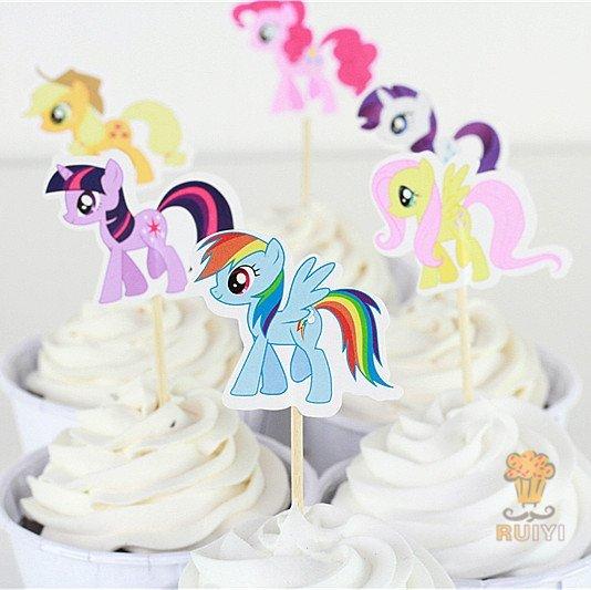 =優生活=小馬寶莉 彩虹小馬my litter pony烘焙蛋糕插牌 插籤 插旗 兒童生日派對裝飾用品 蛋糕插旗 24入