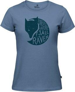 Fjallraven小狐狸有-機棉短袖T恤棉T旅遊ForeverNatureT-Shirt女89958519狐狸圖樣山脊藍