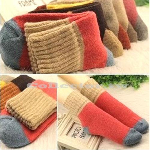 【J14101301】韓版秋冬保暖升級版兔羊毛女襪 撞色女襪 羊毛鬆口襪