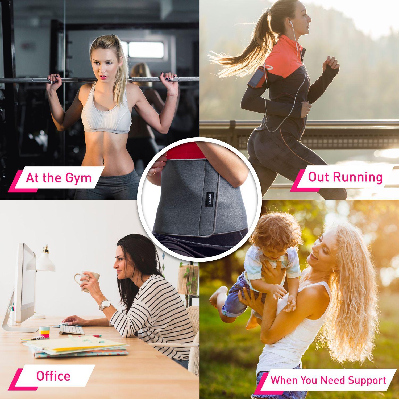 INNOKA Fat Burning Waist Trimmer Gym Running Exercise Wrap Belt Shapewear Sweat Weight Loss Body Shaper - Grey 4