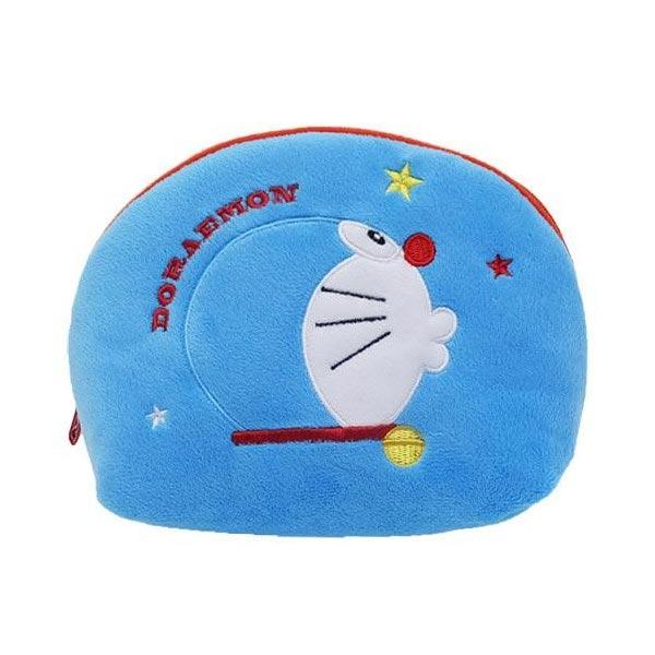 藍色款【日本進口正版】哆啦A夢 DORAEMON 半月型 化妝包 收納包 筆袋 鉛筆盒 小叮噹 - 150618