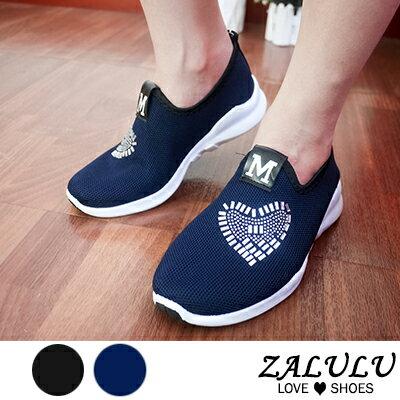 ZALULU愛鞋館 M715 預購 愛心貼鑽透氣網布休閒鞋-藍/黑-35-39