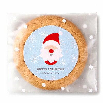 =優生活=「聖誕優惠買一送一」韓國藍色聖誕老公公圓形歡樂聖誕封口貼 封口貼 禮物貼紙 烘焙貼 6枚