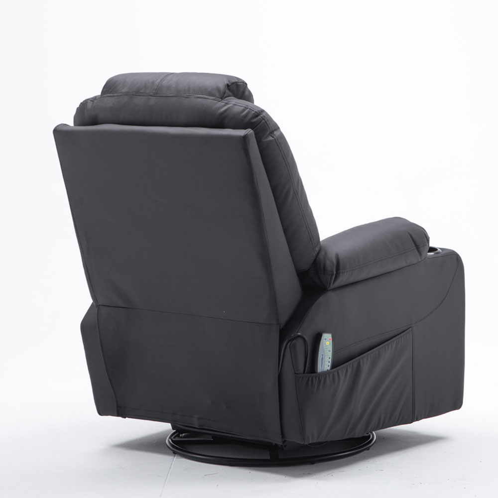 MCombo Massage Sofa PU Leather Recliner Chair Vibrating Heated 360°Swivel Lounge Chair w/ Remote Black 4