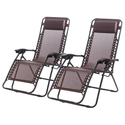 Set Of 2 Zero Gravity Outdoor Patio Chairs   Brown 0