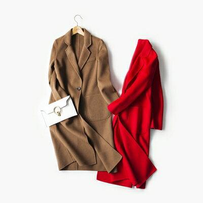 【米蘭秀】【奇珍館】:毛呢外套羊毛大衣-長版百搭時尚流行女外套2色73op6【獨家進口】【米蘭精品】