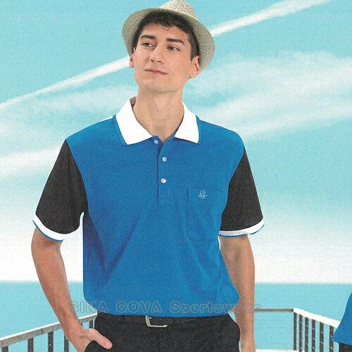 【義大利SINACOVA】男女運動休閒吸濕排汗短POLO衫-海藍黑#S8102A