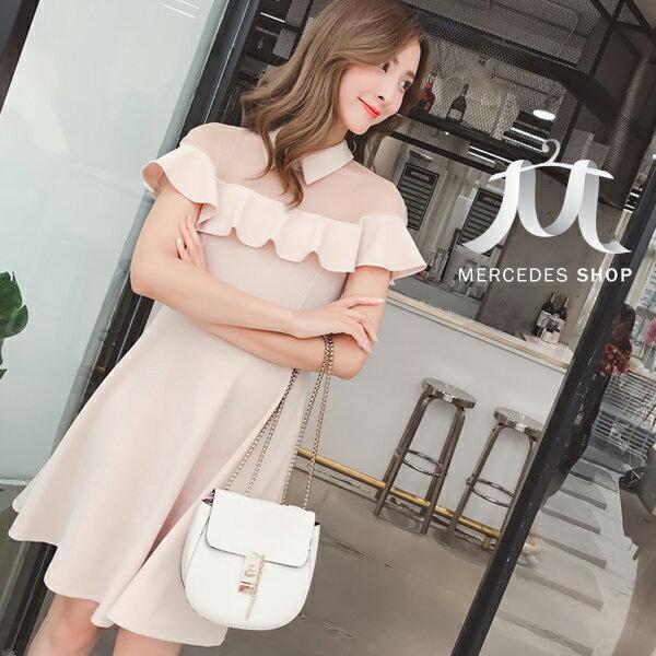 《全店75折》韓國名媛小香風赫本連身裙短袖洋裝(S-XL,2色)-梅西蒂絲(現貨+預購)