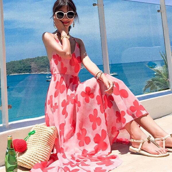 PS Mall 露背吊帶雪紡連身裙波西米亞長裙海邊度假洋裝【T480】 1
