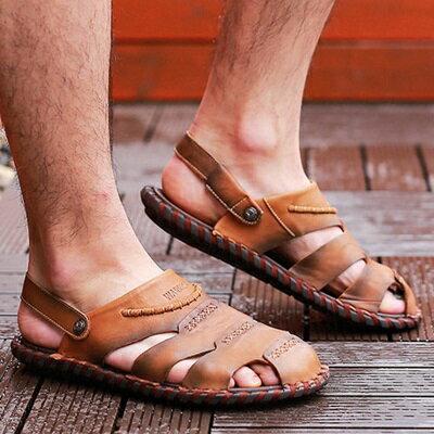 涼鞋真皮拖鞋-英倫復古包頭羅馬男鞋子2色73sa5【獨家進口】【米蘭精品】