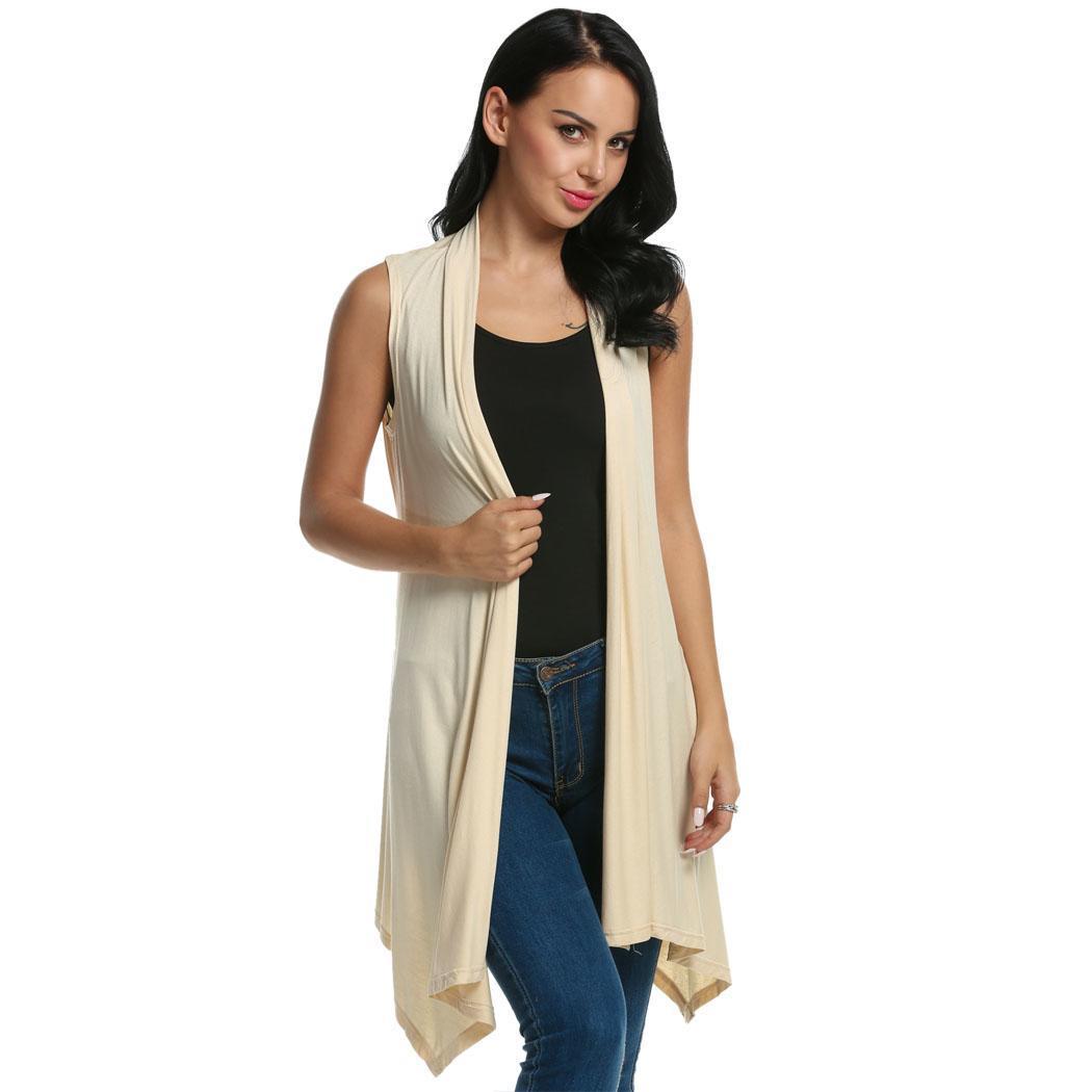 Women Sleeveless Asymmetrical Hem Open Front Casual Long Cardigan 2