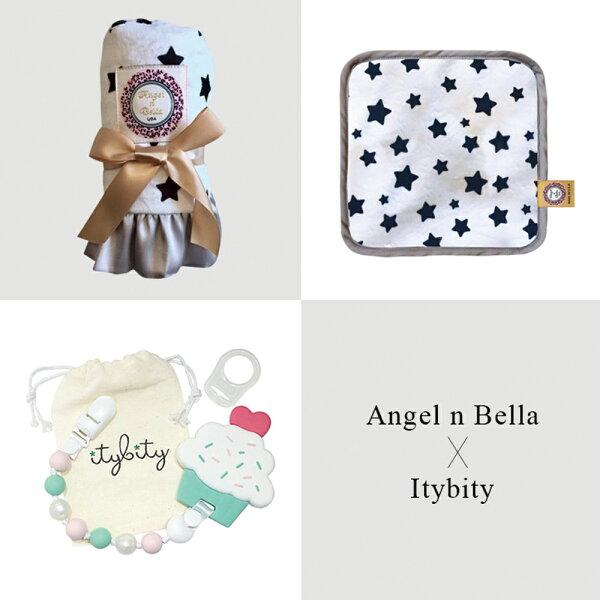 美國AngelnBella許願星星愛戀彌月禮盒(含奶嘴咬咬練固齒器夾)