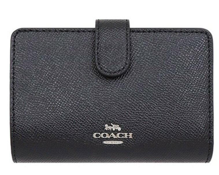 COACH F11484 人氣款簡約黑色皮革中夾 SVBK