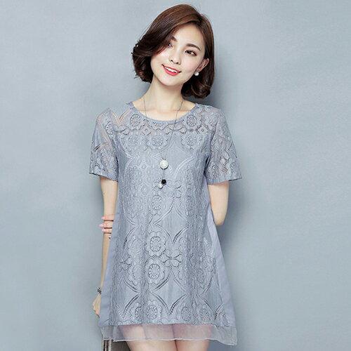 蕾絲衫顯瘦衫 (3色,M~4XL)【OREAD】 1