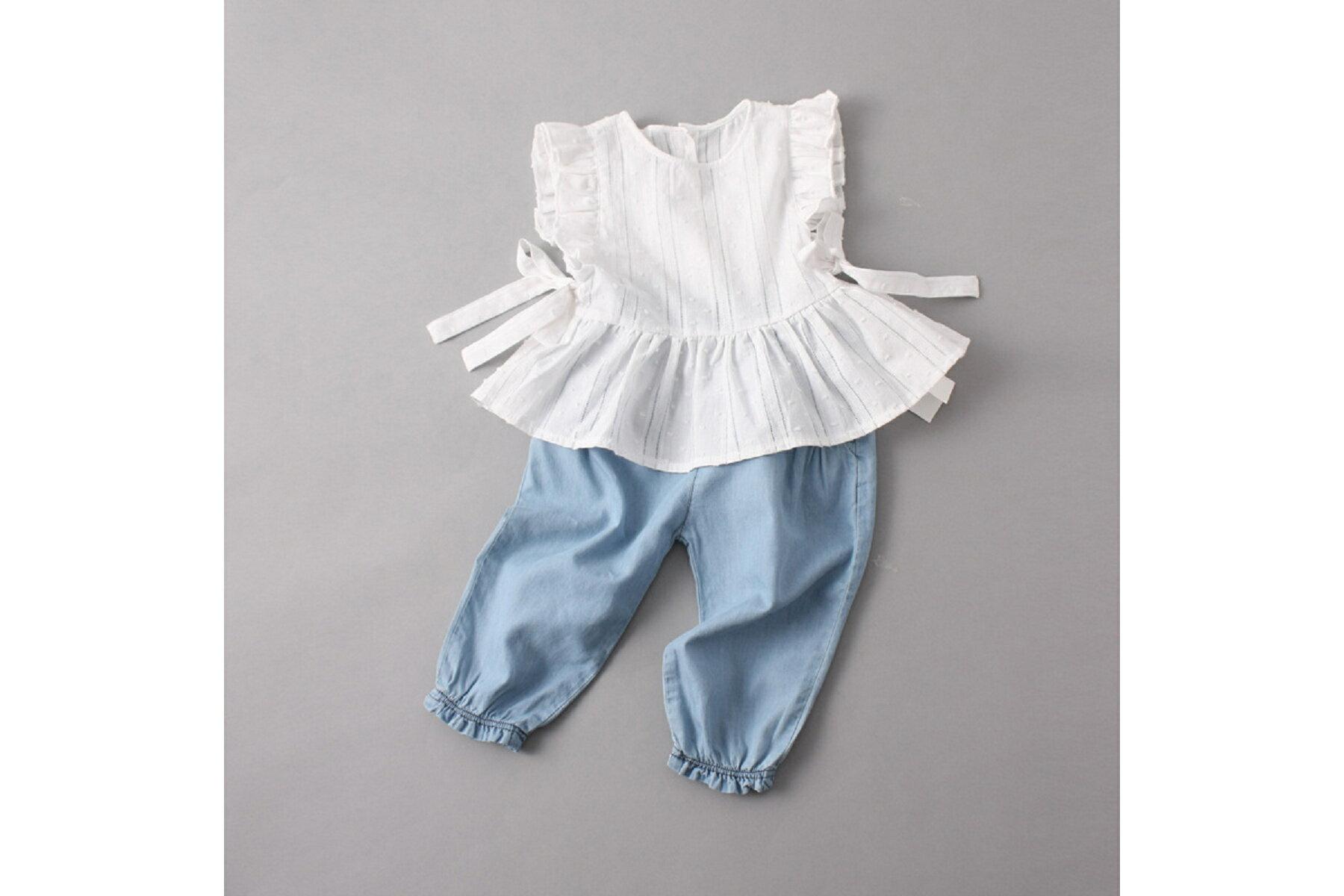 2016夏裝女童無袖花邊襯衫上衣全棉白色娃娃衫