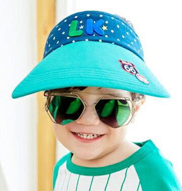 Lemonkid◆可愛活力滿版星星LK字母質感立體刺繡大帽沿透氣空頂遮陽帽-綠色帽沿