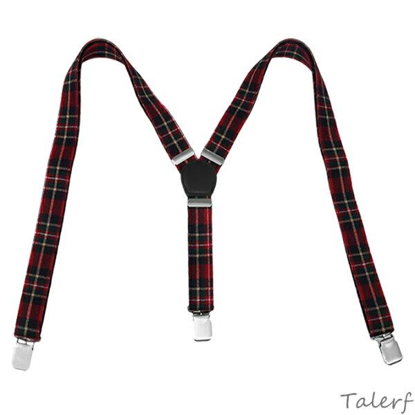 泰樂福購物網:TALERF經典真皮格紋布吊帶(紅綠)-情侶素面牛皮台灣製造
