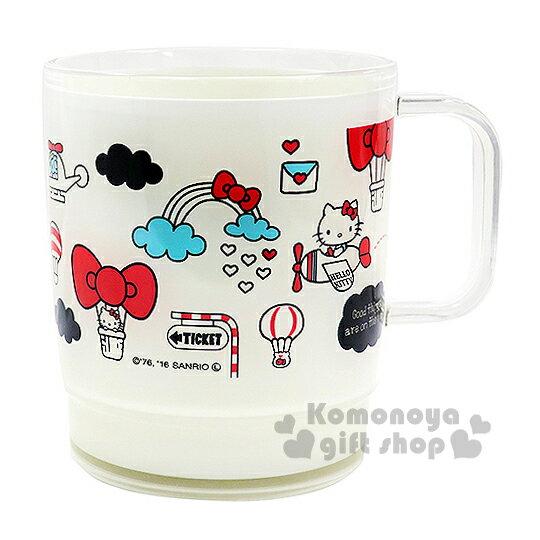 〔小禮堂〕Hello Kitty 日製塑膠小水杯~透明.白.熱氣球.蝴蝶結.360ml~
