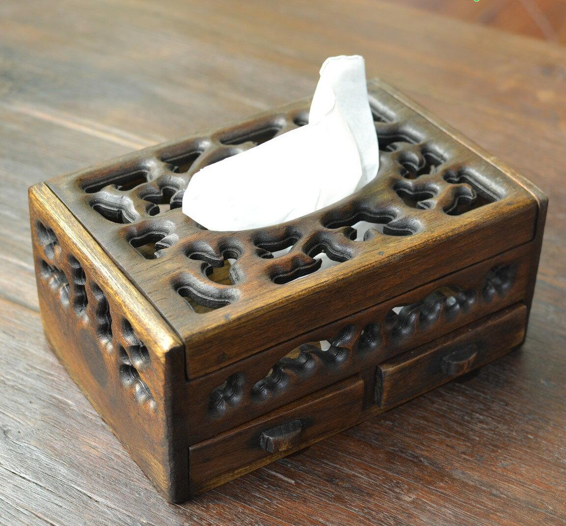 木質紙巾盒 儲物盒小抽屜 復古實用多功能收納盒 泰國進口