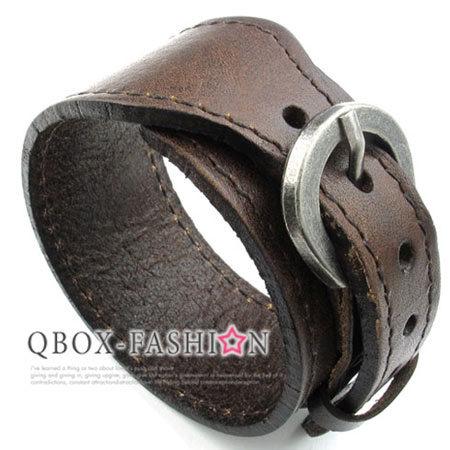 《 QBOX 》FASHION 飾品【W10023150】精緻個性皮帶扣飾皮革手鍊/手環(橘色)