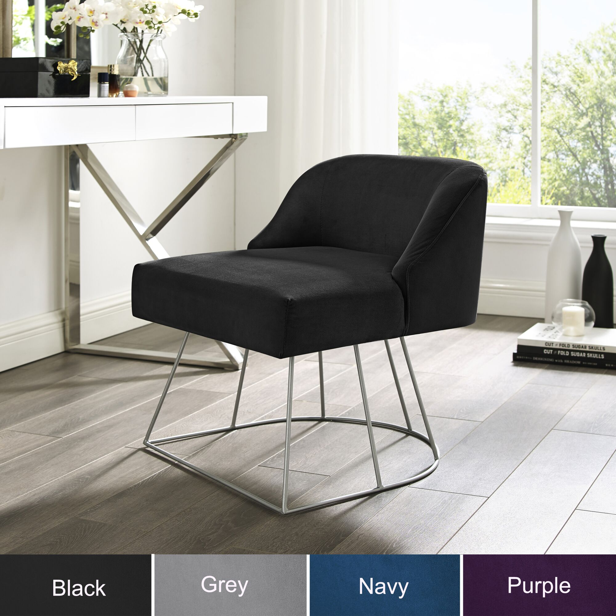 Astonishing Samik Velvet Vanity Stool Upholstered Armless Metal Base Dailytribune Chair Design For Home Dailytribuneorg