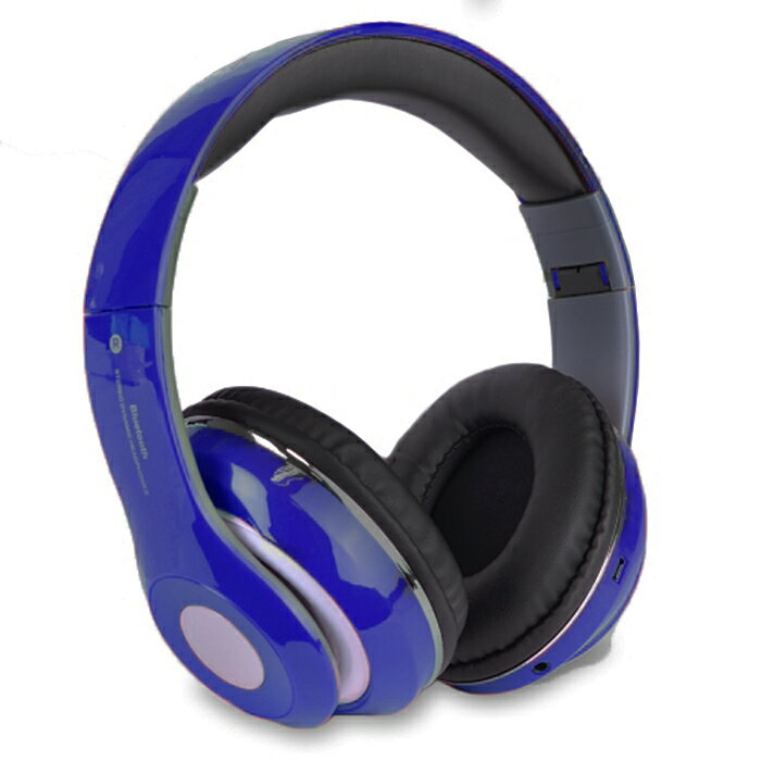 Bluetooth Wireless Headphones with Built In FM Tuner, Memory Card Slot and Mic - Blue 0