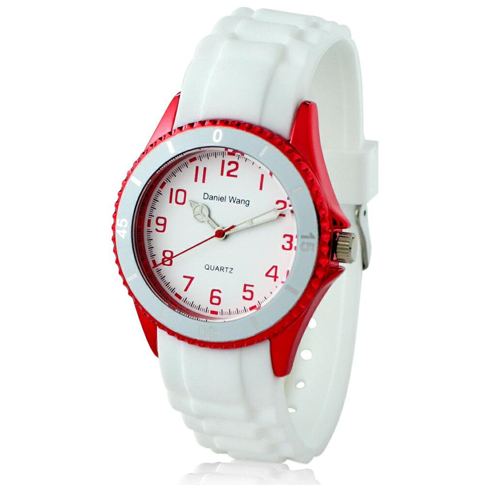 Daniel Wang 3150 炫光雙圈造型矽膠中性小型腕錶-白 3
